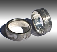 Seymchan Meteorite Rings Lined in Sterling Silver