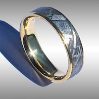 GIbeon Meteorite Ring with Gold Lining