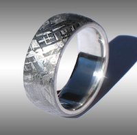 Gibeon Meteorite RIng w/ Silver Lining