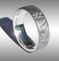 Gibeon Meteorite Ring with Silver Lining